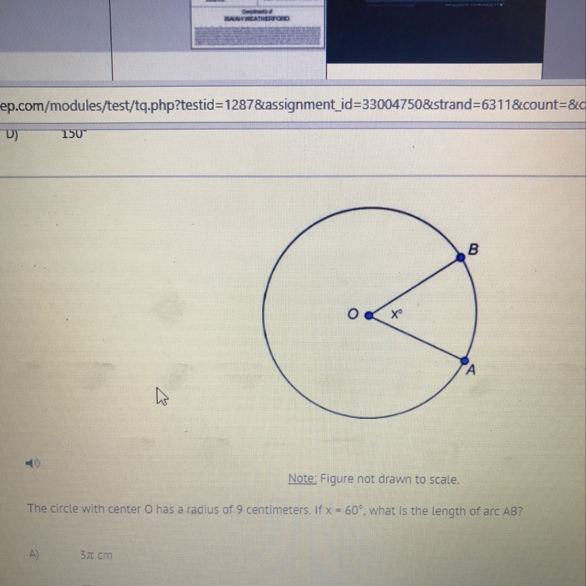 9 To Cm The Circle With Center O Has A Radius Of 9 Centimeters If X 60