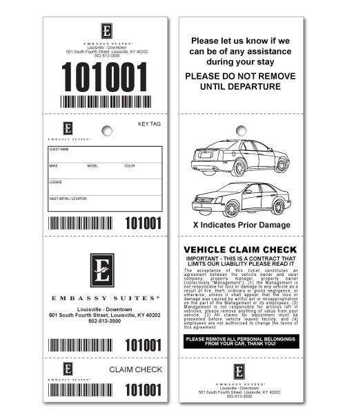 Custom Valet Ticket, Valet Tags, Car Checks US-TICKETCOM - printable ticket paper