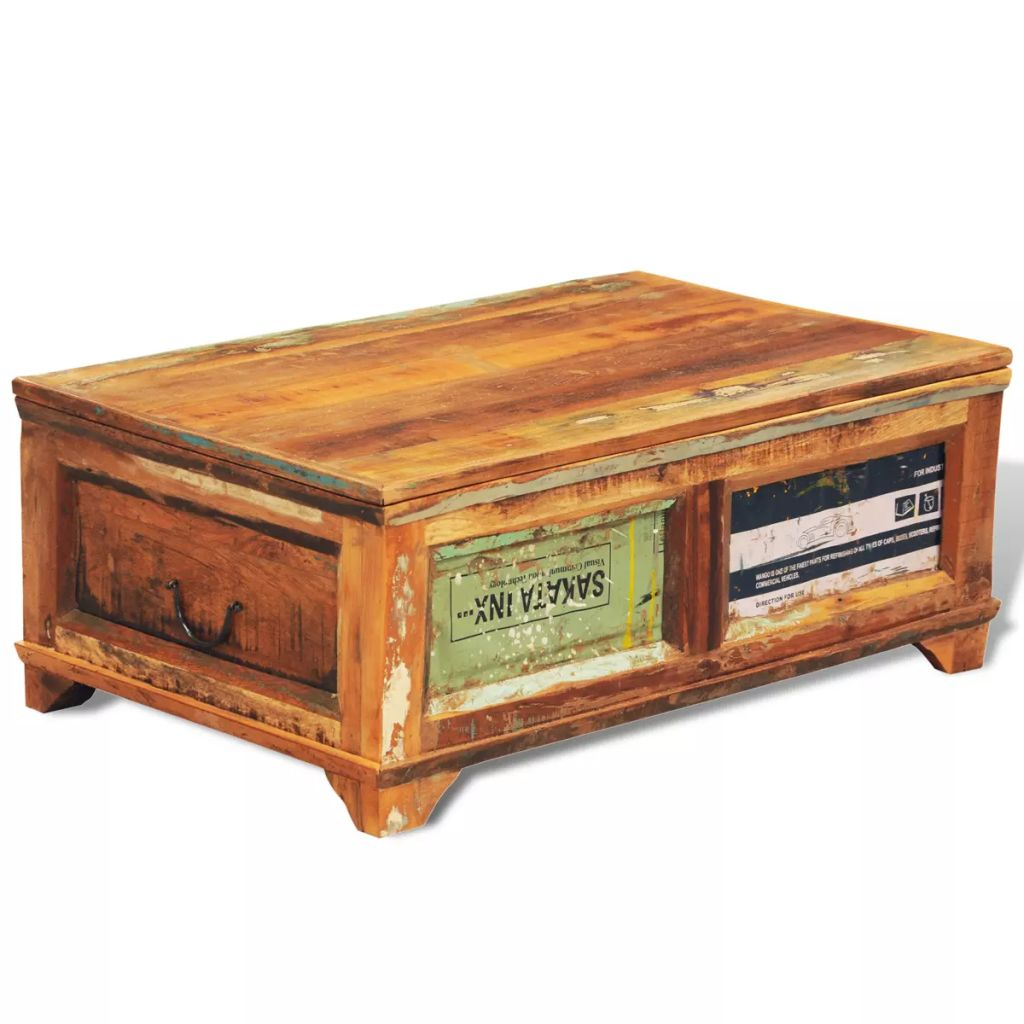 Couchtisch Orient Coffee Table With Storage Vintage Reclaimed Wood Home Furniture