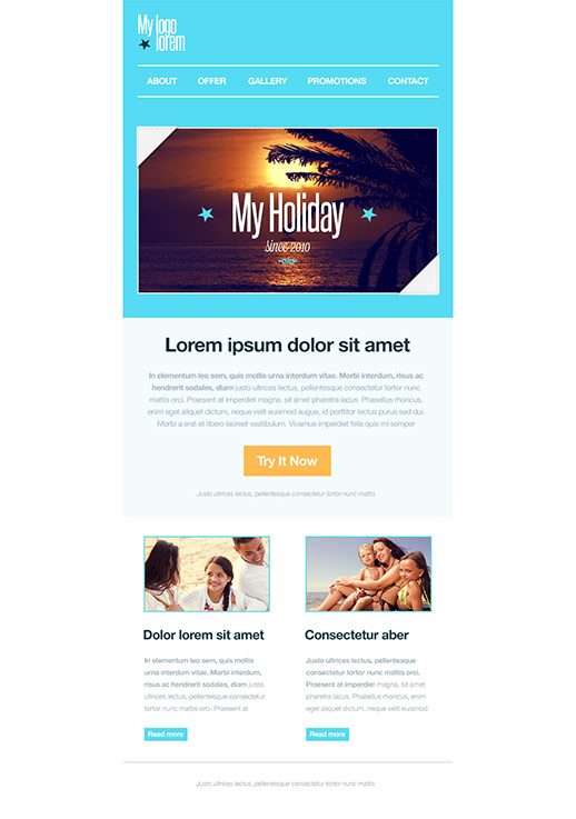 Travel and Holiday Newsletter Templates - email marketing - GR