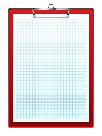 Red Clip Board With Blue Square Graph Paper Math Concepts Stock - math graph paper