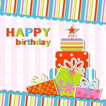 Template Birthday Greeting Card, Vector Illustration Royalty Free - birthday card template