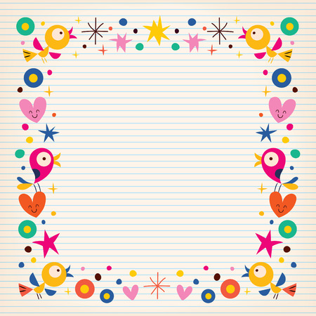 Birds Hearts Happy Border On Lined Paper Background Royalty Free - lined border paper