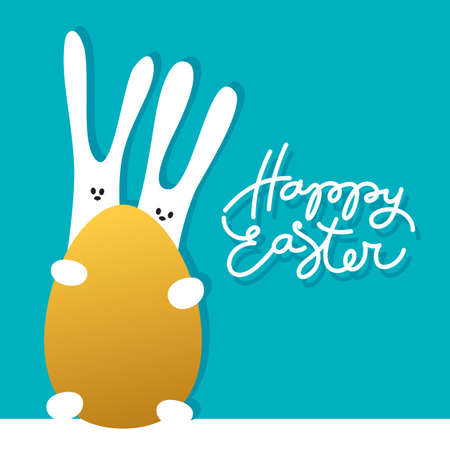 Easter Greeting Card Template With Rabbits And Golden Egg Holiday - easter greeting card template