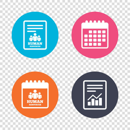 Report Document, Calendar Icons Human Resources Sign Icon HR - hr report