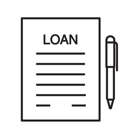Loan Agreement, Contract Linear Icon Mortgage Document Thin - loan document