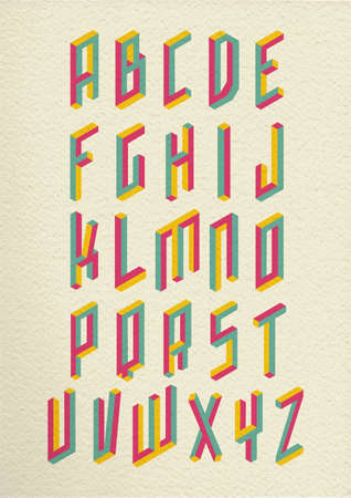 Colorful Retro Isometric 3d Impossible Shapes Type Font Set Whit   Free  Isometric Paper ...