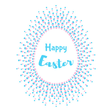 Happy Easter Greeting Card Template Egg Shape Frame Made Of - easter greeting card template
