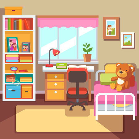 Preschool Or School Student Girls Room Interior Study Desk At The Window Bookshelf With