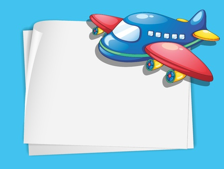 White Paper Template With A Plane Cartoon Royalty Free Cliparts - white paper template