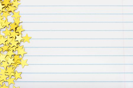 Gold Stars Making A Border On A Lined Paper Background, Gold - lined border paper