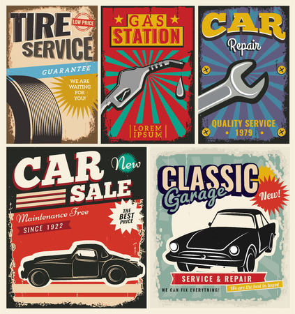 Vintage Retro Style Set Of Vector Cars Flyer Template Garage - car for sale flyer template