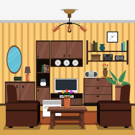 Living Room Interior Concept With Flat Indoors Furniture Icons - free living room furniture