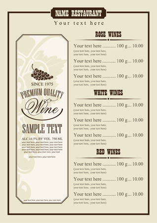 Wine Menu With A Price List Of Different Wines Royalty Free - price list sample