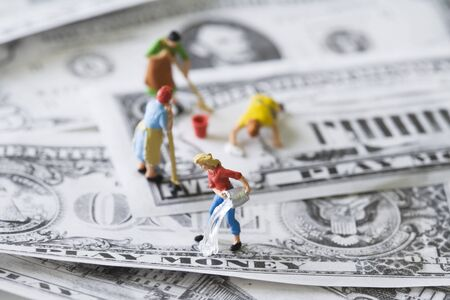 Miniature Cleaning Ladies Washing Play Money Stock Photo, Picture