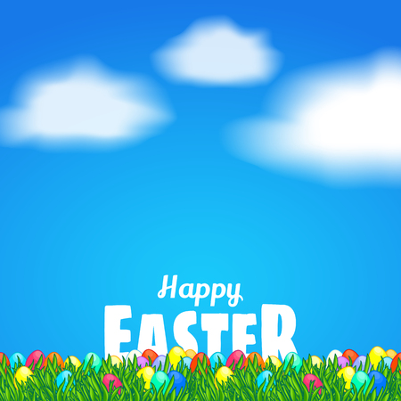 Happy Easter Greeting Card Template White Text Behind Bright - easter greeting card template