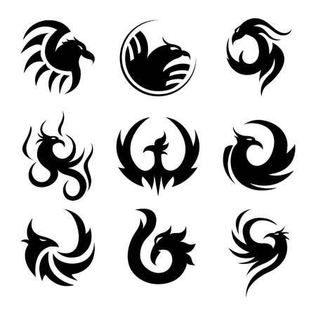 Black Tattoo Template Of Phoenix Isolated Vector Illustrations - tattoo template