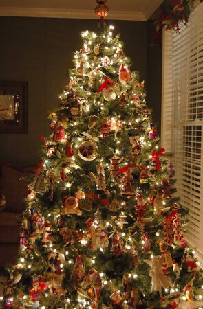 Beautifully Decorated Christmas Tree In A Living Room Stock Photo - beautiful decorated christmas trees