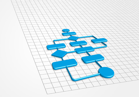 Business Process In 3D On Graph Paper Background Stock Photo - 3d graph paper