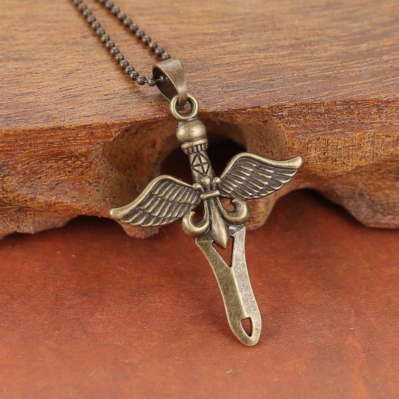 Fashion Jewelry Cool Bronze Silver Cross Wing Flower