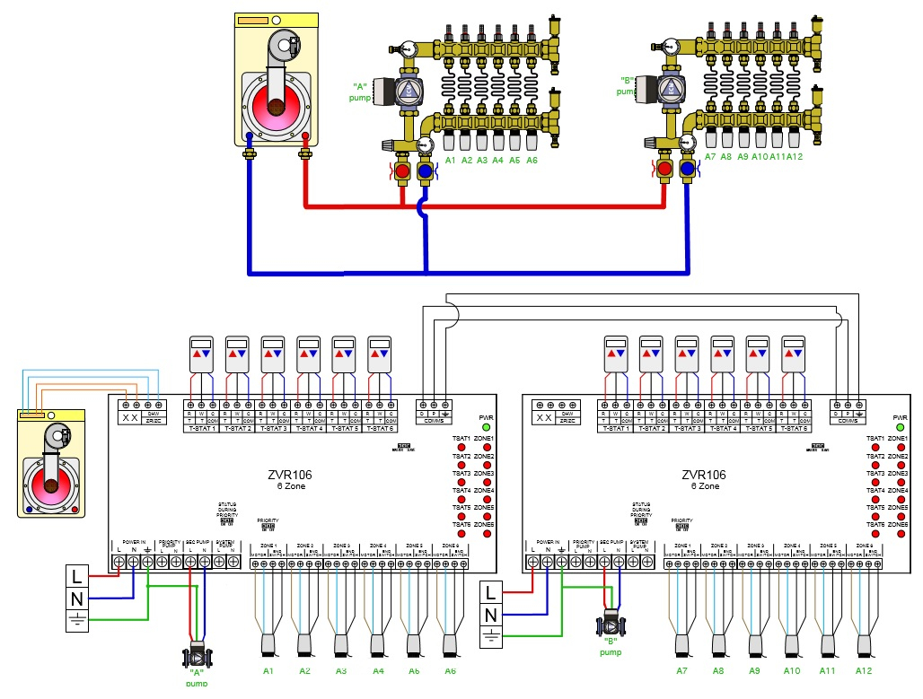 Taco Zone Valve Wiring Diagram 573 Auto Electrical Industrial Honeywell Caleffi Thermostat