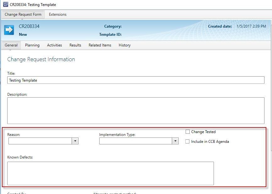 Change Request Extensions - how to display on Self Service Portal