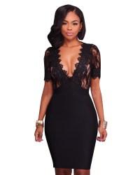 US$ 7.6 - Sexy Flower Lace Black Party Dress 26811 - www ...