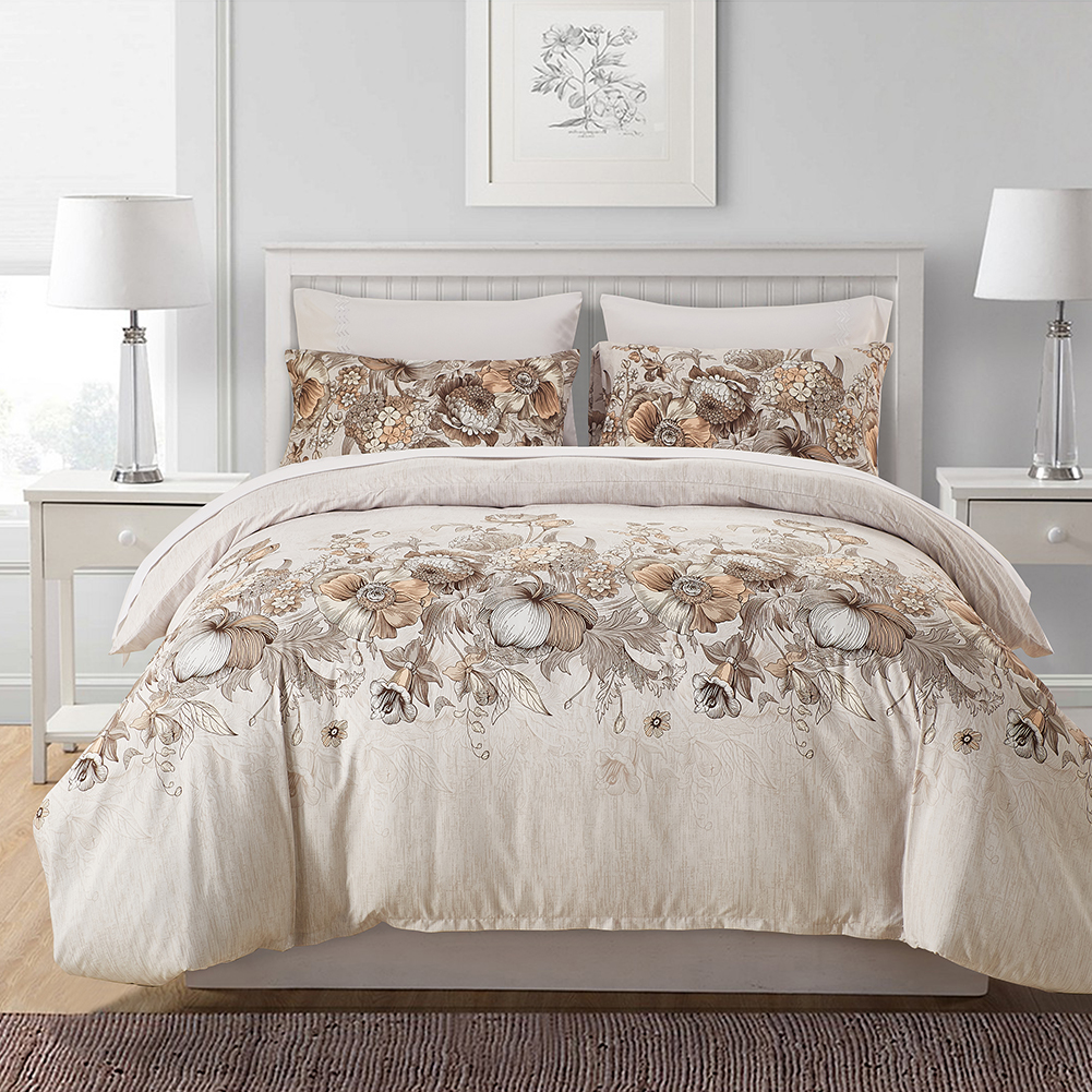 Cotton Quilt Covers King Size Floral Printed Bedding Set Tencel Cotton Duvet Quilt Cover Set Twin Queen King Size Bed Set