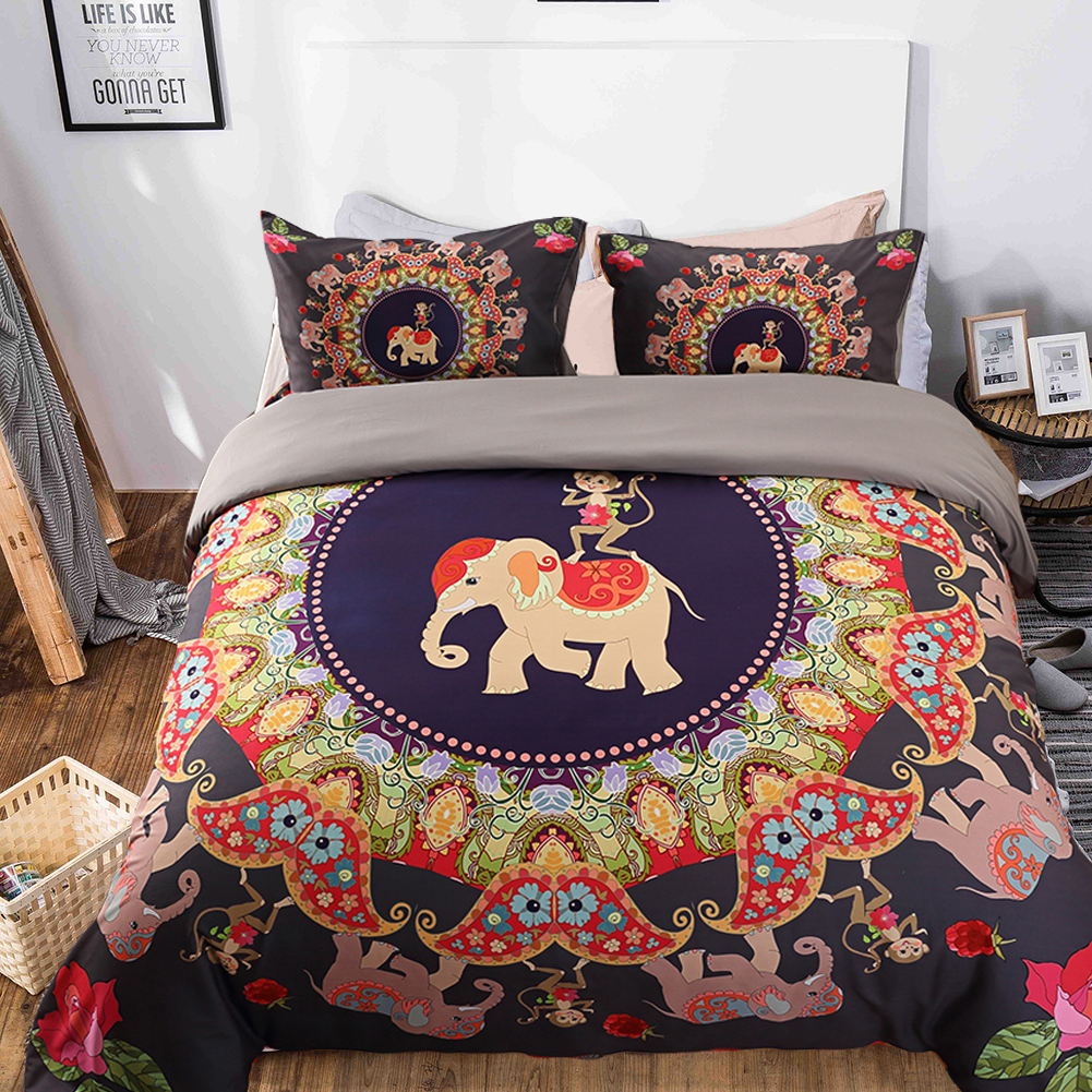 Boho Quilt Covers Australia Monkey Elephant Print Mandala Duvet Cover Set Colorful Bohemian Bedding Set Queen Size Boho Bed Set