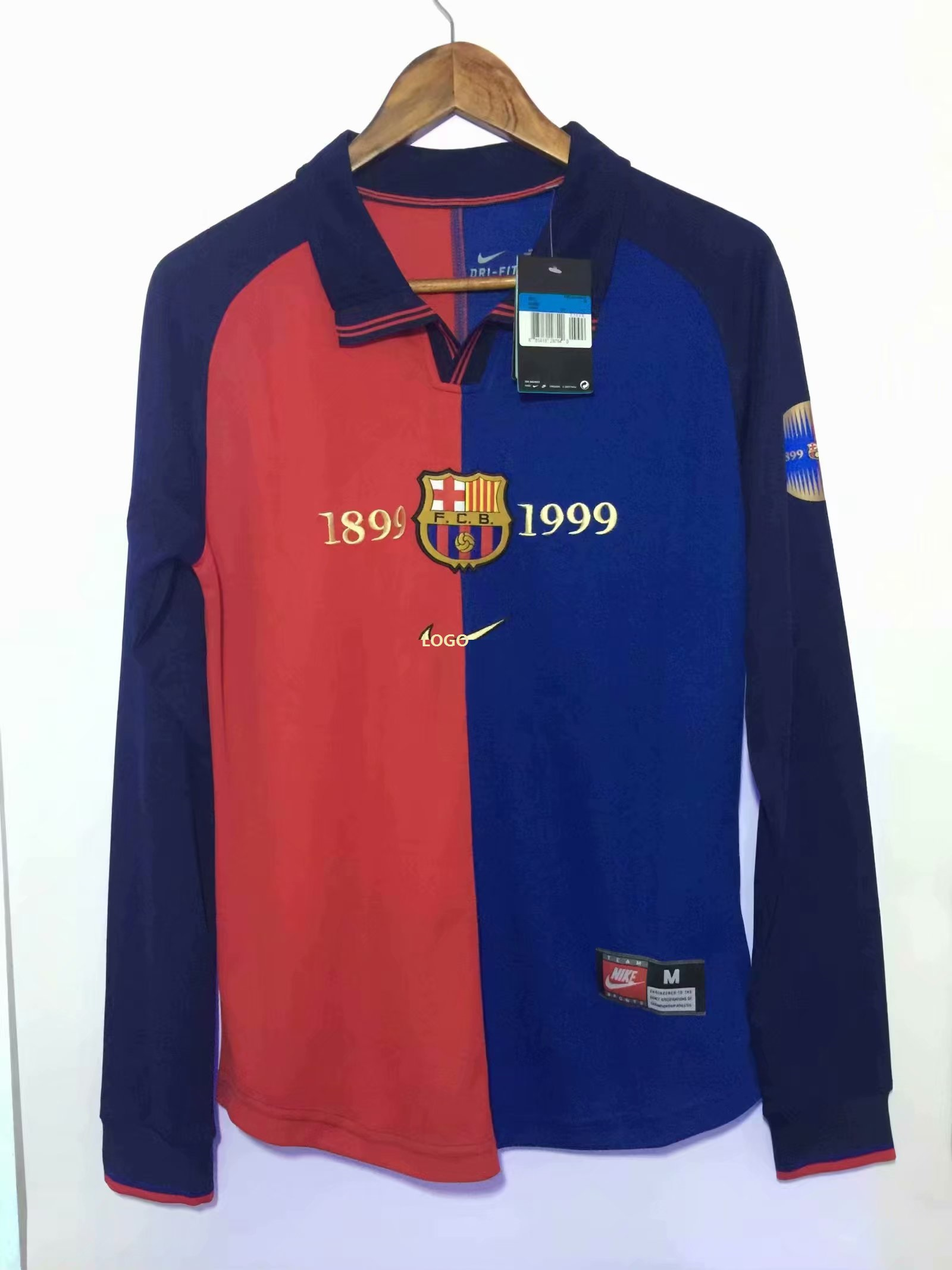 Retro Jerseys Men 1899 1999 Barcelona Retro 100 Years Jersey Long Sleeve Soccer Jersey