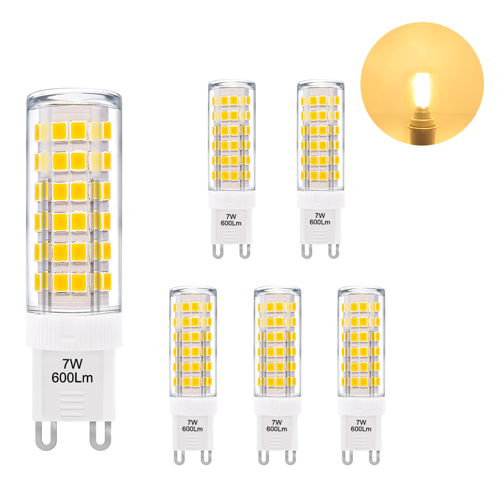 Lampen G9 Super Bright 7w G9 Gu9 Miniature Led Light Bulbs Capsule Corn Lamp Bulbs Warm White 3000k 600lm Ac220 240v Replace 60w G9 Halogen Light Bulb 6 Pack