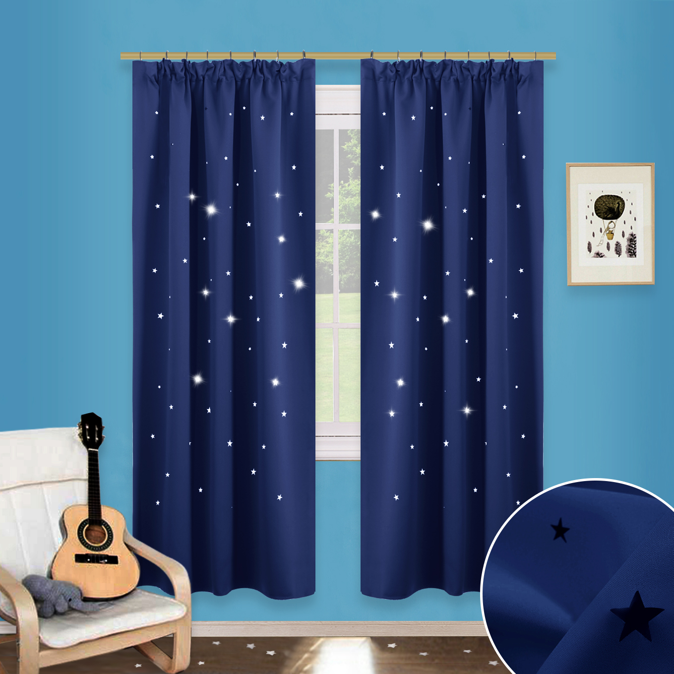 Ready Made Thermal Curtains Hollow Star Pencil Pleat Curtains Thermal Insulated Ready Made Blackout Cutting Star Curtains Starry Sky Drapes For Bedroom Nursery Kids 2