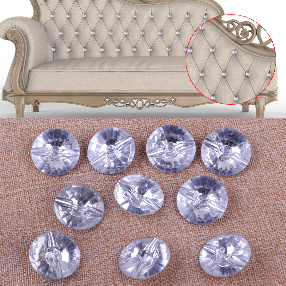Sofa Upholstery Oman 10pcs 30mm Sparkly Diamond Crystal Gem Upholstery Nails Sew On