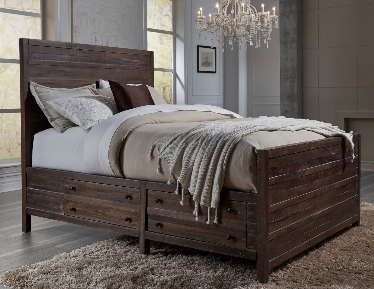 Solid Wood Bed Townsend Solid Wood Panel Storage Bed By Modus Usa