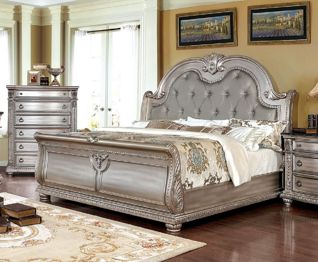 Bedroom Furniture Online Fromberg Sleigh Bed Champagne Finish Foa Cm7670cpn