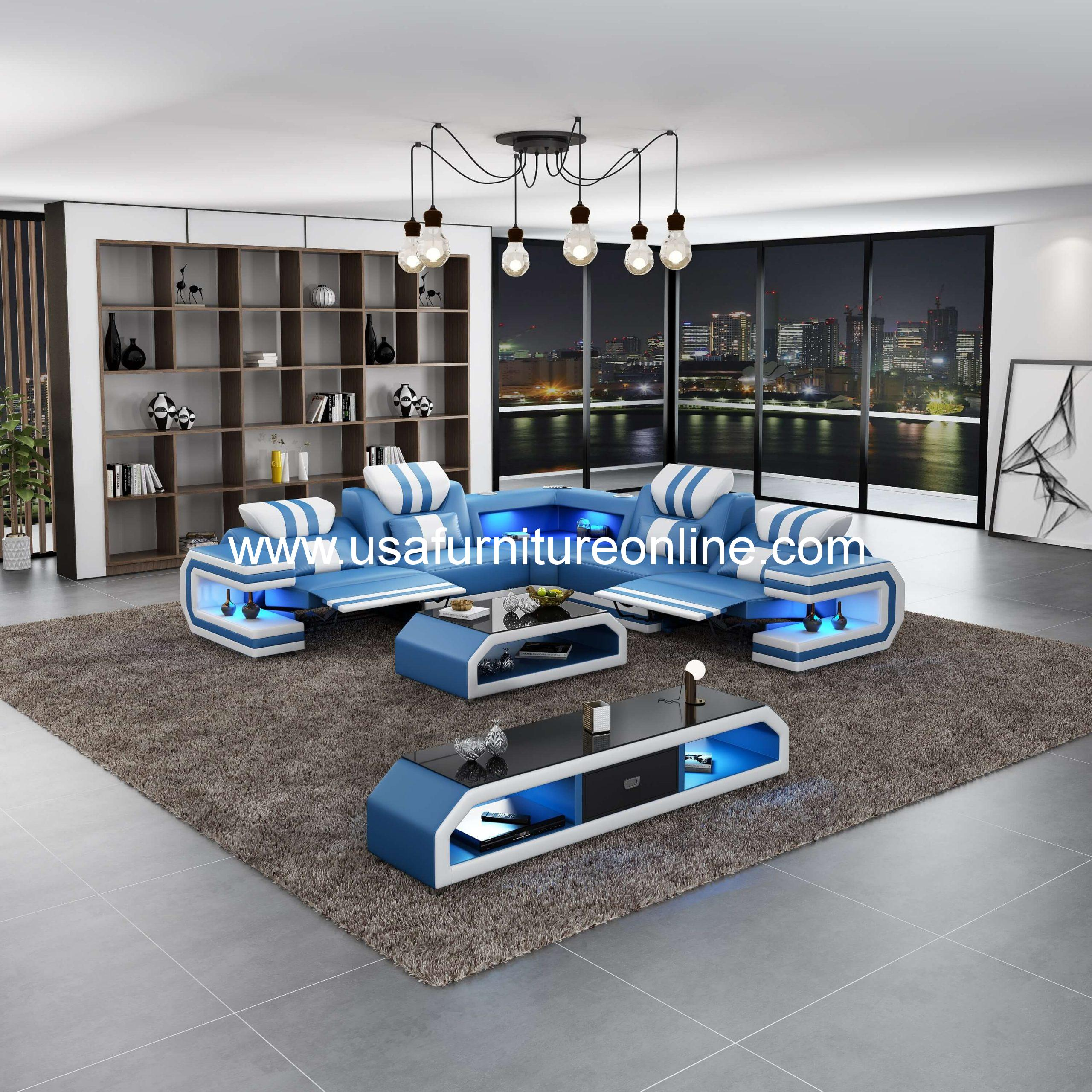 European Furniture Lightsaber Led Sectional Dual Recliners Italian Leather Blue White Usa Furniture Online