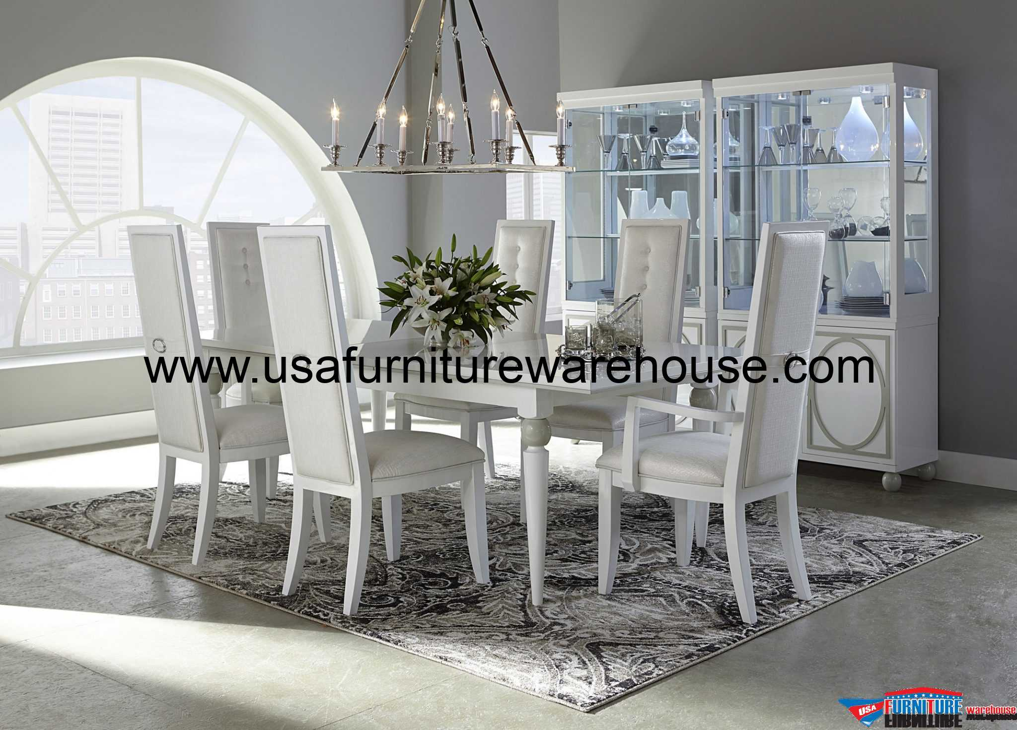 Modern Dining Set Aico Furniture Sky Tower Modern Dining Set