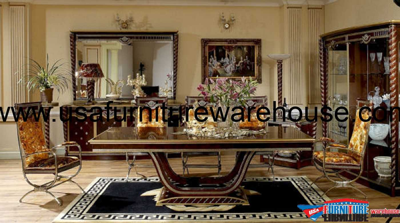 Luxurious Dining Rooms Zeus European Luxury Dining Set Burgundy Wood Table Top