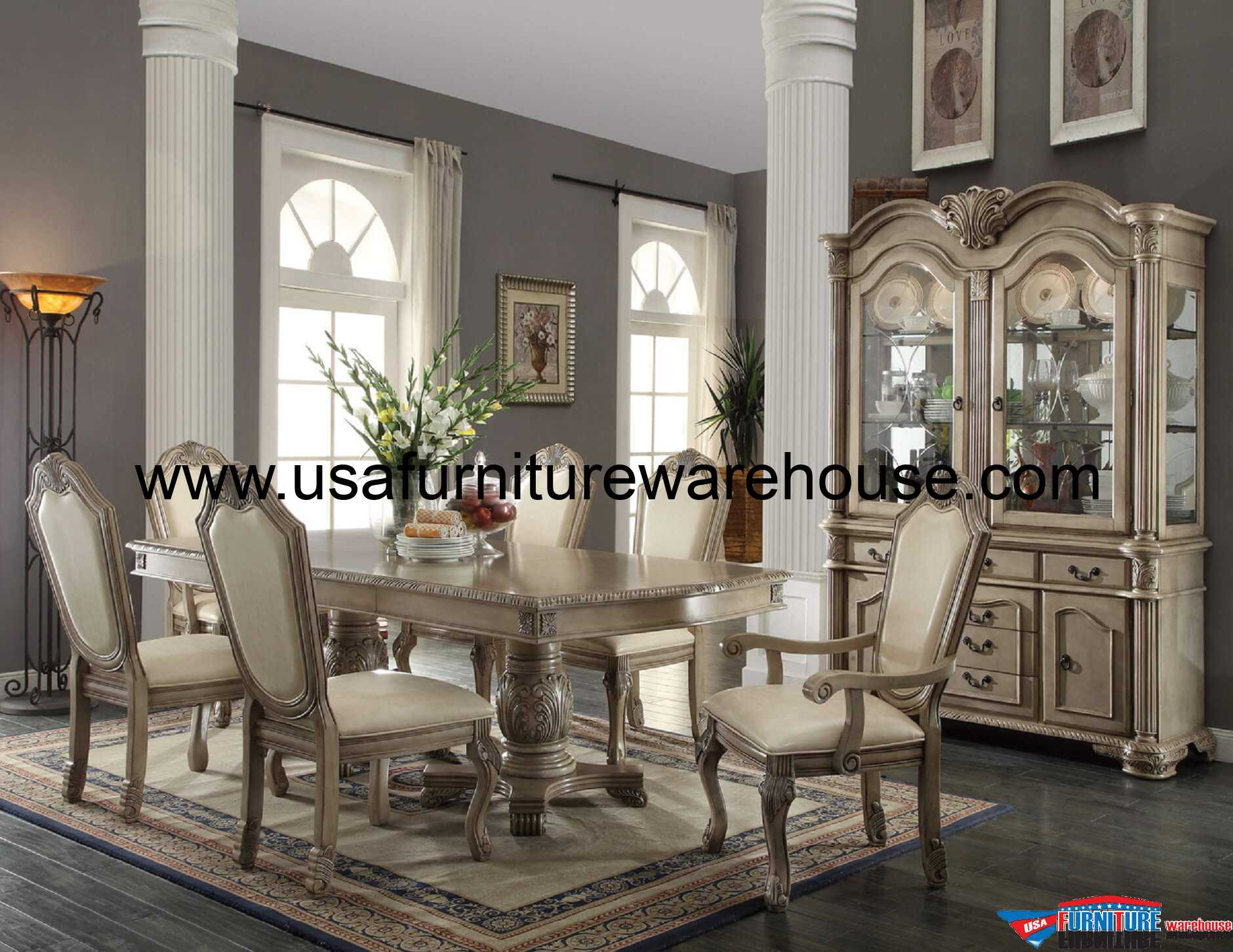 Fancy Dining Room Sets 9 Piece Acme Chateau De Ville Antique White Finish Dining Set