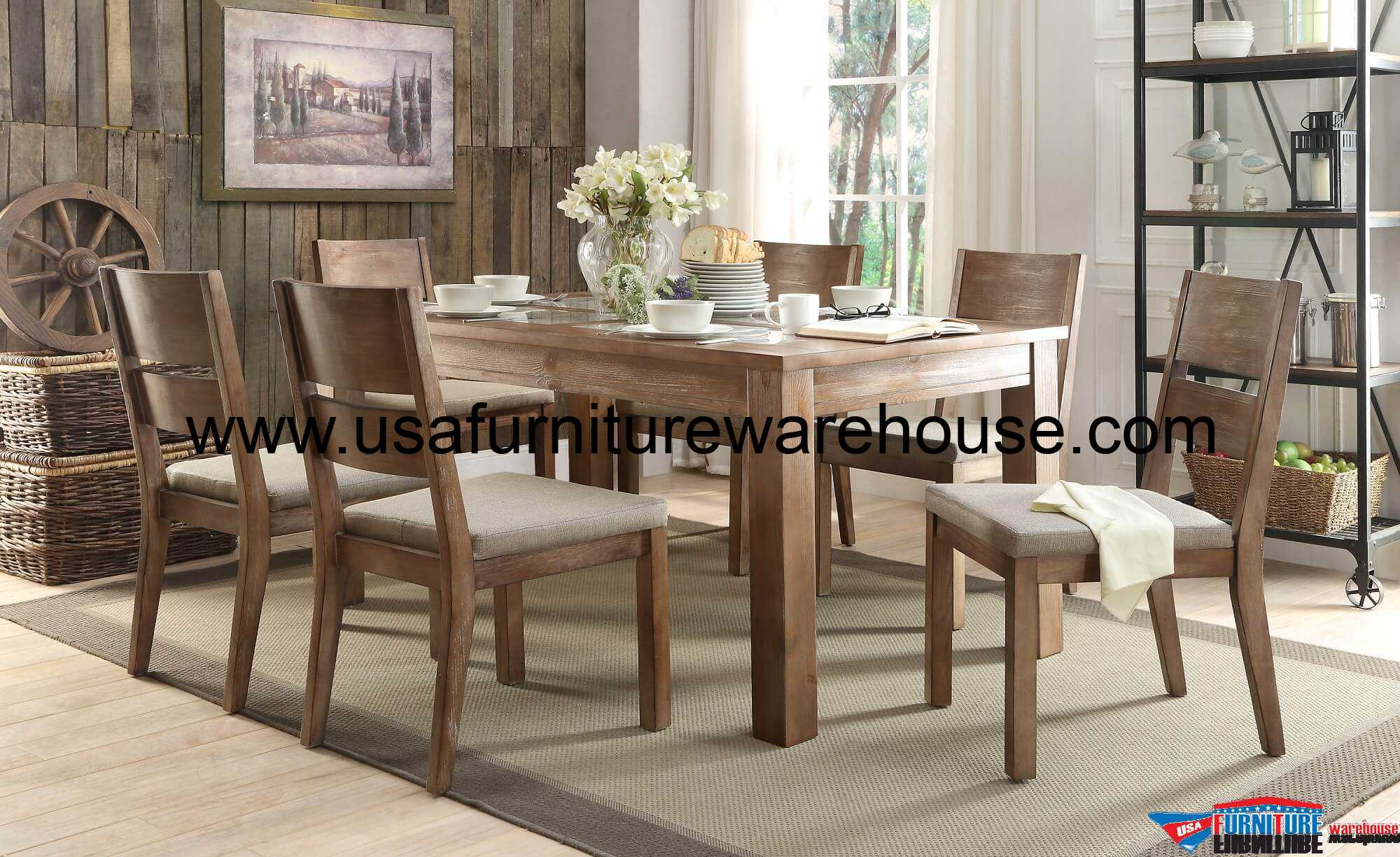 Sofa Shop Marion 7 Piece Homelegance Marion Dining Set Natural Tone Finish