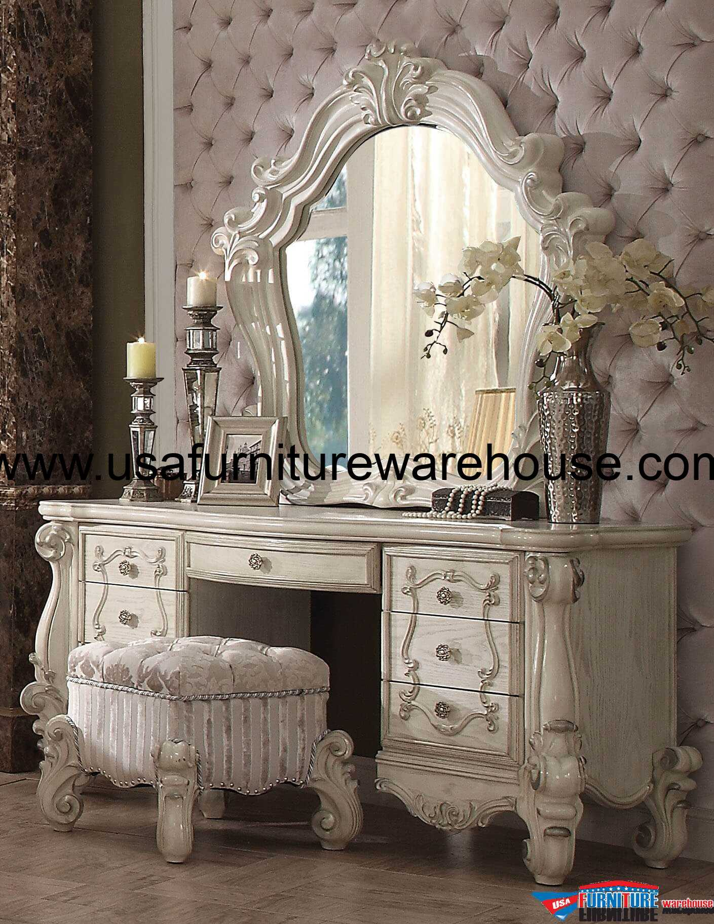 Sofa Set At Lowest Price Acme Versailles Bone White 3 Piece Vanity - Mirror With Stool - Usa Furniture Warehouse