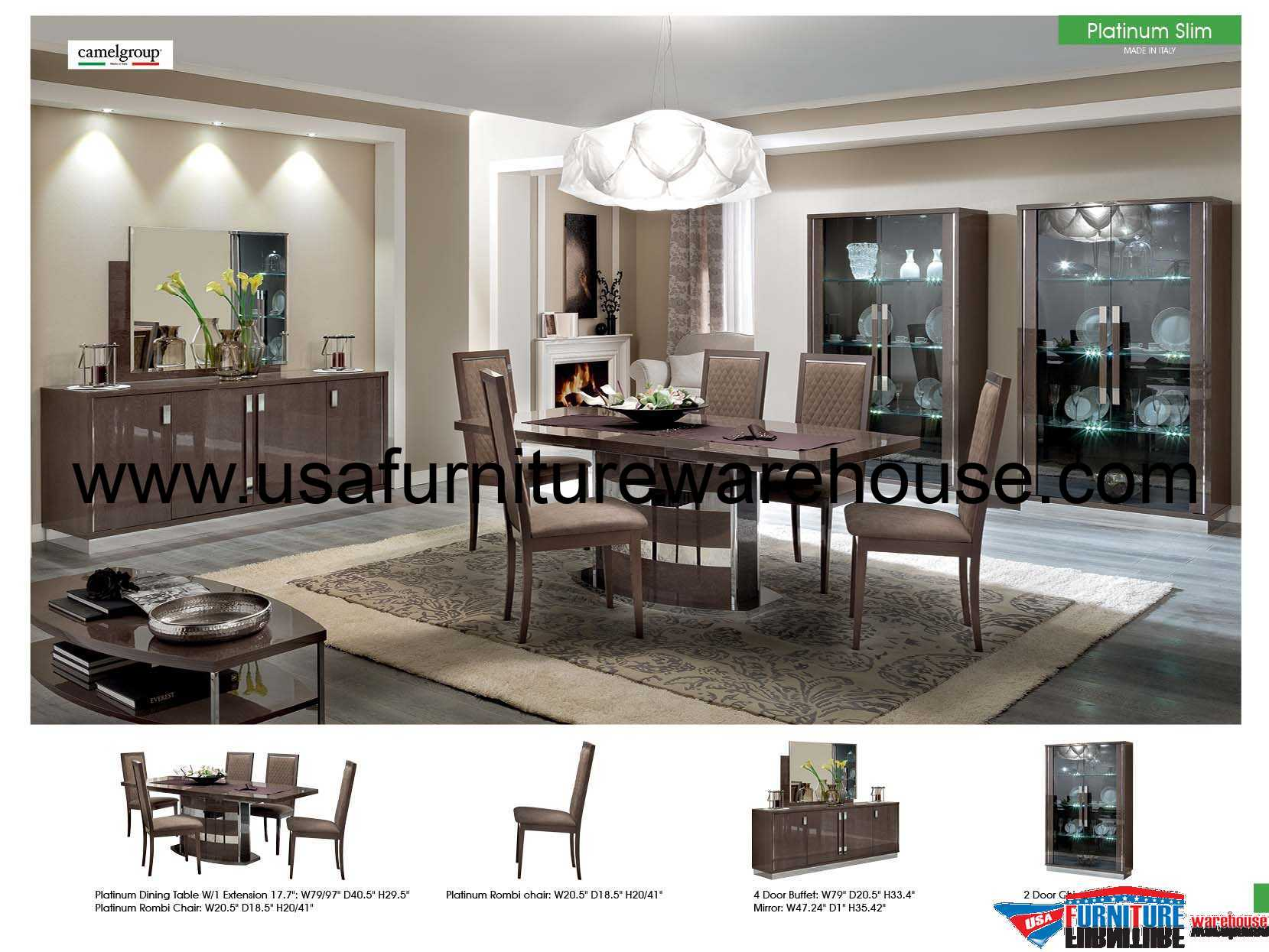 Esf Modern Platinum Slim Dining Set Made In Italy Usa Furniture Warehouse