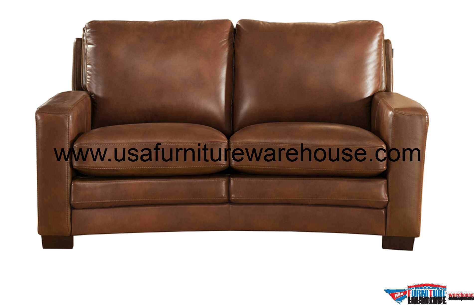 Leather Loveseat Joanna Full Top Grain Brown Leather Loveseat