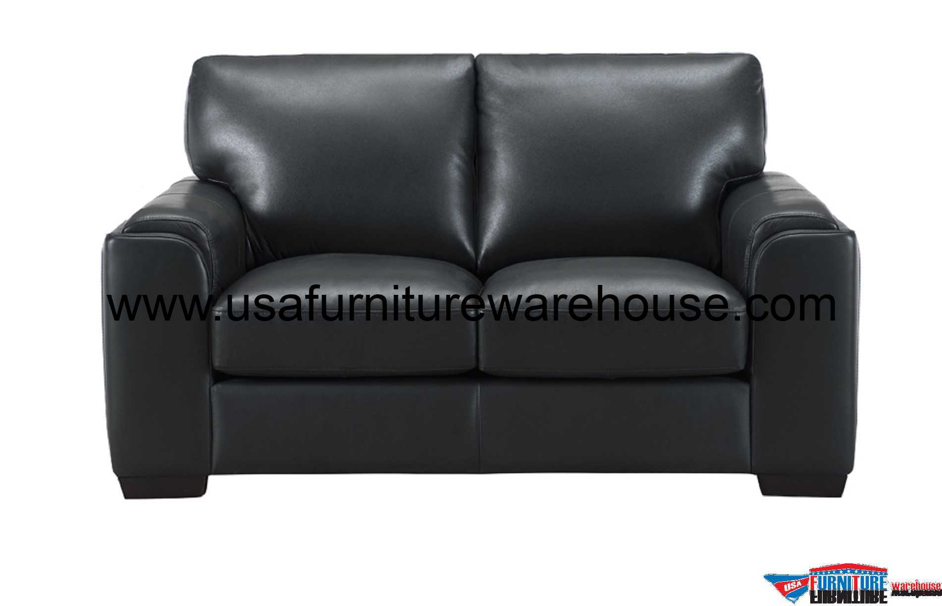 Leather Loveseat Suzanne Full Top Grain Black Leather Loveseat