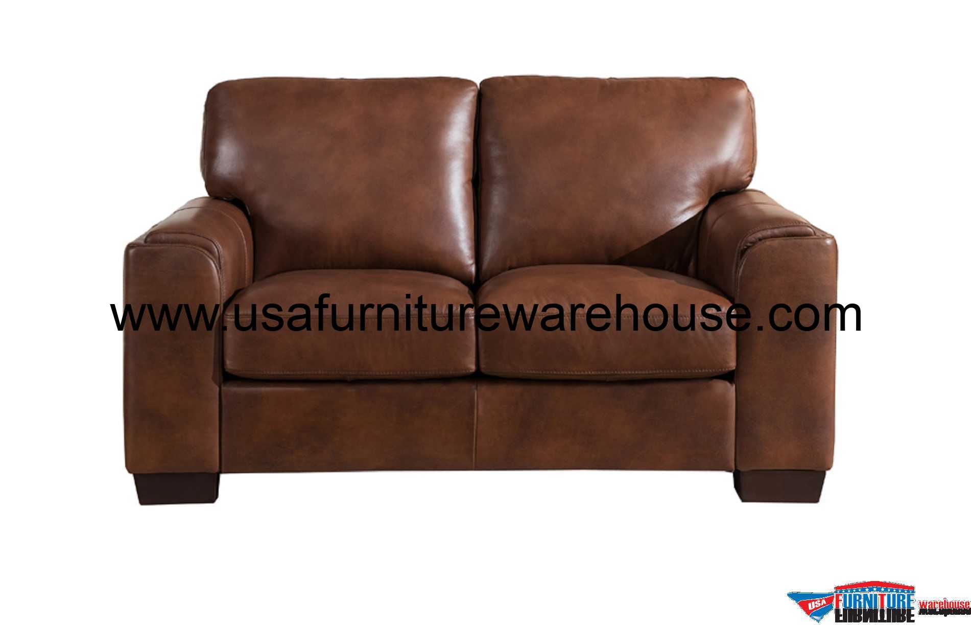 Leather Loveseat Suzanne Full Top Grain Brown Leather Loveseat