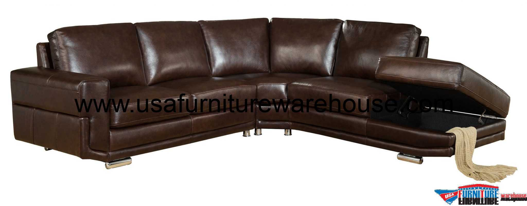 Bedroom Corner Storage Units Cecile Full Top Grain Dark Brown Leather Sectional