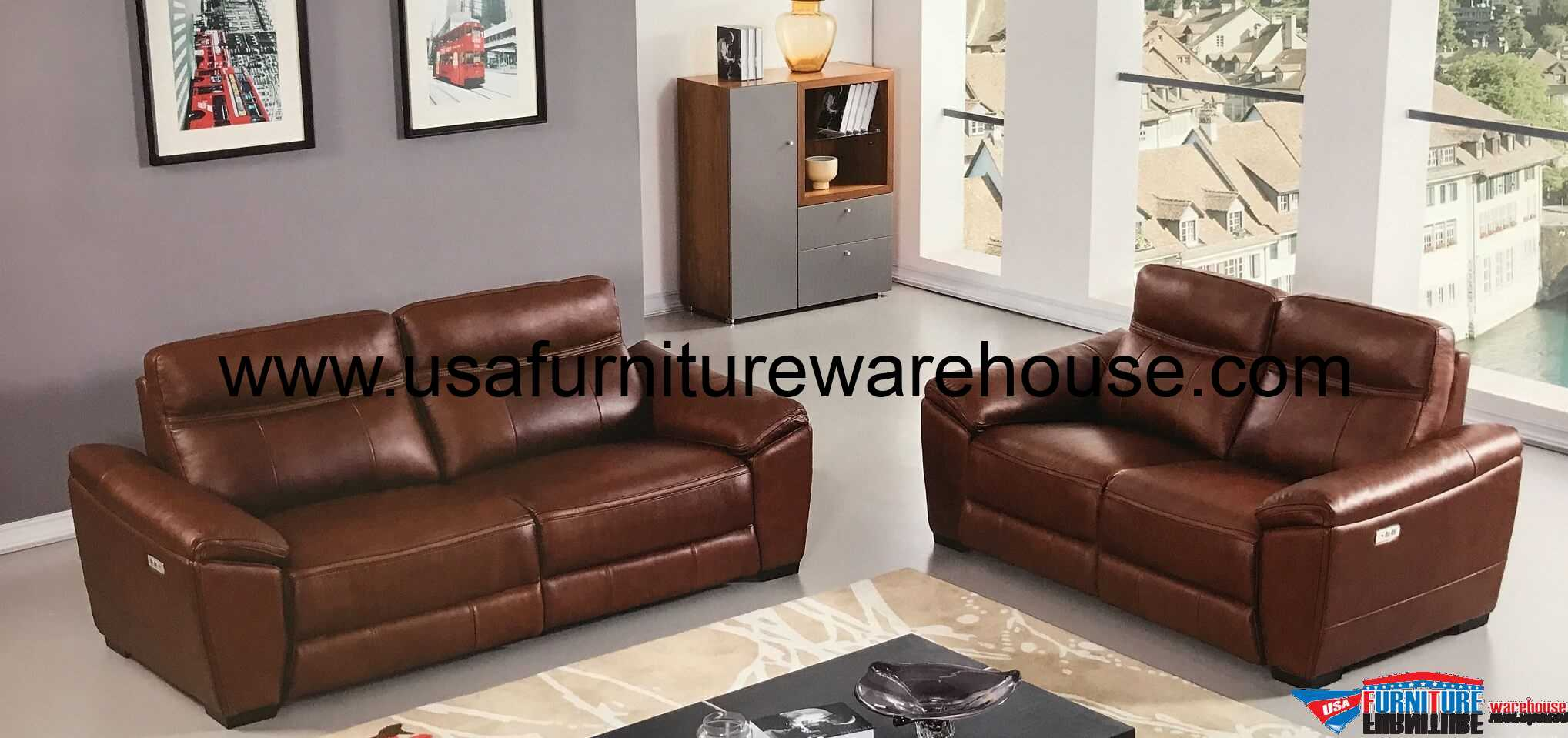 Sofa Set Offer Up Forma Full Italian Brown Leather Power Recliner Loveseat