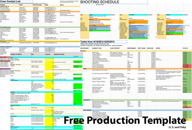 excel production template