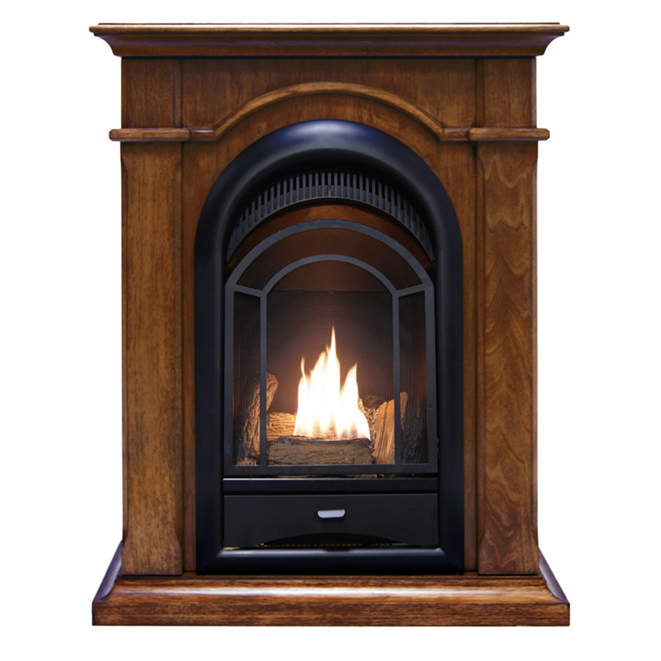 Space Heaters Fireplace Ventless Fireplace System Corner Combo Dual Fuel Walnut Finish 15 000 Btu