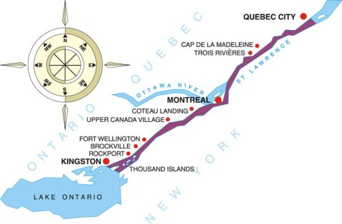 Canadian Connections Cruise Itinerary Map showing the St. Lawrence Seaway from Kingston to Quebec City
